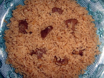 pilau rice with beef  stew